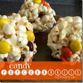 Candy Popcorn Balls; a handful of ingredients including your favorite candy pieces, less than 30 minutes in the kitchen & you will have a loved sweet treat! TrishSutton.com