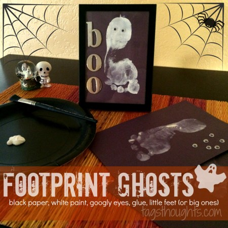 Footprint Ghosts for Halloween Cards or Decor; A simple Halloween activity. Footprint Ghosts make great décor or a fun Halloween greeting card. TrishSutton.com