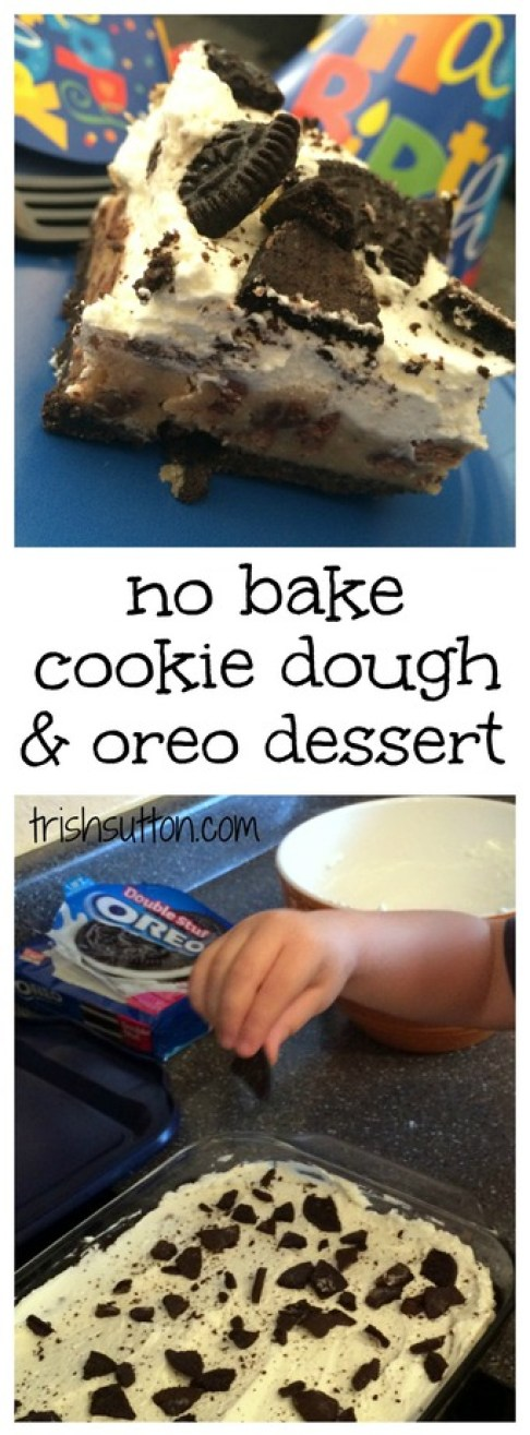 No Bake Layered Cookie Dough Dessert Recipe. A tasty dessert that is not as sweet as it sounds made with egg free raw chocolate chip cookie dough. TrishSutton.com