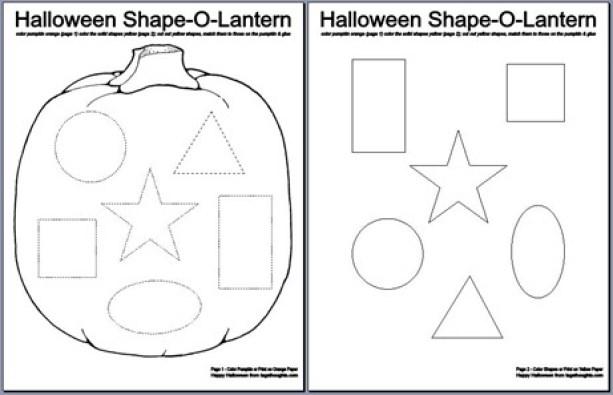 Halloween Shape-O-Lantern; Free Printable. An activity for children. Coloring, cutting, matching & gluing. TrishSutton.com