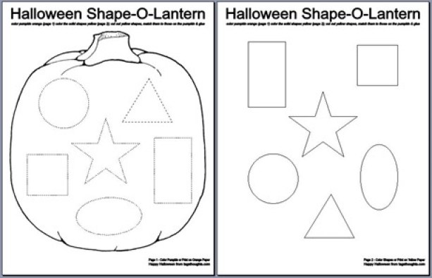 Halloween Shape-O-Lantern; Free Printable. An activity for children. Coloring, cutting, matching & gluing. TrishSutton.com
