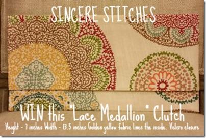 Sincere Stitches Lace Medallion Giveaway by trishsutton.com