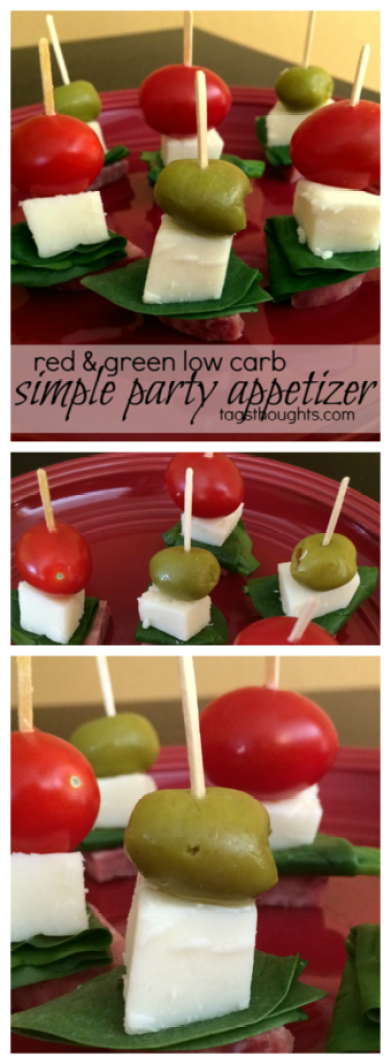 Red & Green Low Carb Party Appetizer; and it's very simple - Sausage, Spinach, Mozzarella, then Tomato or Olive; pierce with toothpick. TrishSutton.com