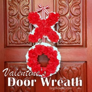 A Valentine's welcome for January and February visitors. Welcome Love Valentine's Door Wreath. TrishSutton.com