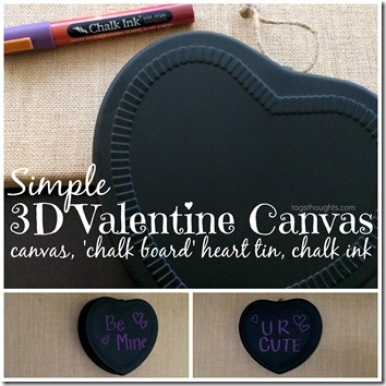Simple 3D Valentine Canvas by trishsutton.com #conversationheart #valentine #decor #target #onespot