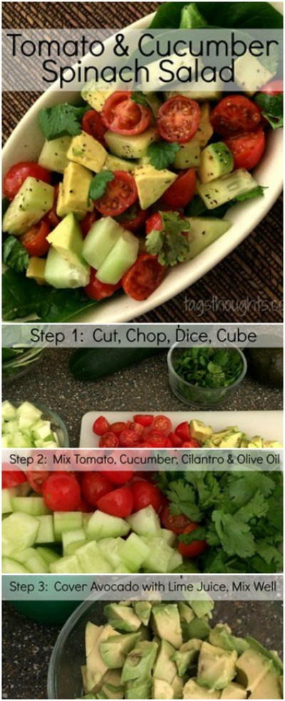 Tomato & Cucumber Spinach Salad Recipe, TrishSutton.com