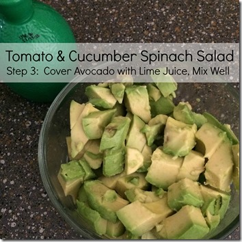 Tomato Cucumber Spinach Salad by trishsutton.com #recipe #avacado #tomato #spinach #cucumber