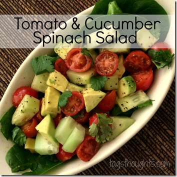 Tomato Cucumber Spinach Salad by trishsutton.com #recipe #salad #tomato #cucumber #spinach #avocado #cilantro