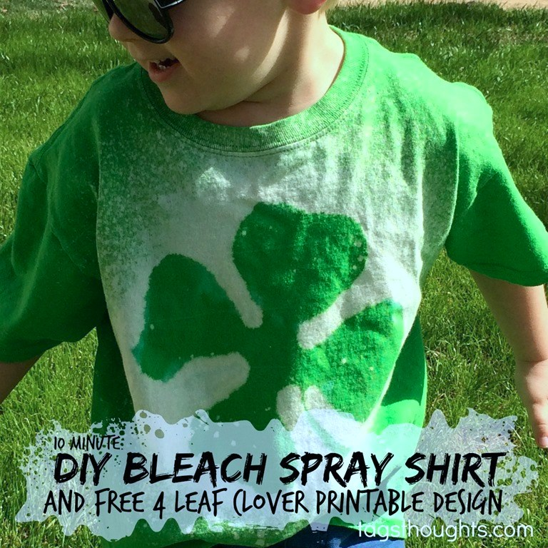Follow these simple instructions to create your own Bleach Bleach Spray Shirt in just minutes using my Free St. Patrick's Day Printable. TrishSutton.com
