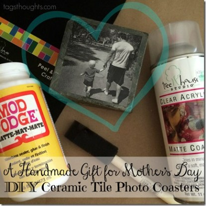 Handmade Gift; DIY Ceramic Tile Photo Coasters by trishsutton.com