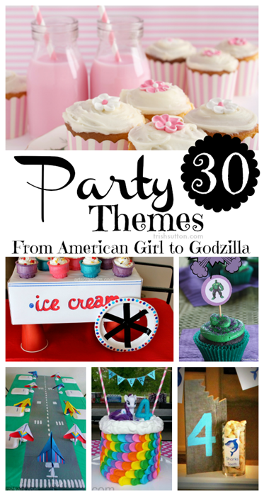 Themed Party Round-Up; 30 Fun Party Posts. Party Themes Round-Up; From 'American Girl' to 'Godzilla' and from 'My Little Pony' to 'Superheroes' below are 30 fun themed party posts to inspire your creative party planning.
