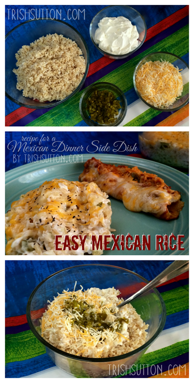 Mexican Dinner Side Dish; Easy Mexican Rice Recipe. When it comes to Mexican Dinner Side Dish the 'go-to' side of choice at our house is Easy Mexican Rice. TrishSutton.com