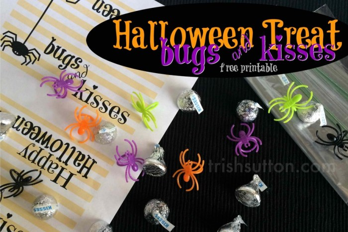 Bugs & Kisses Halloween Treat Free Printable by TrishSutton.com