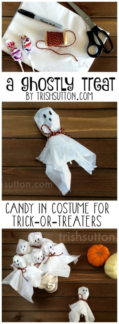 A Ghostly Treat; Candy in Costume for Trick-or-Treaters by TrishSutton.com, perfect for school parties, Halloween parties and Trick-or-Treating Ghosts & Goblins.