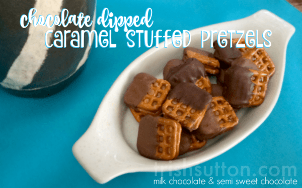 Recipe for Chocolate Dipped Caramel Stuffed Pretzels by TrishSutton.com