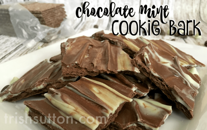 Chocolate Mint Cookie Bark Recipe by TrishSutton.com; Two Ingredient Dessert