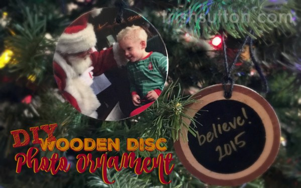 DIY Wooden Disc Photo Ornament, Christmas Craft & Gift by TrishSutton.com