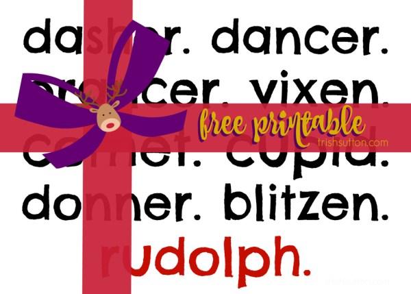 Christmas Printable; Santa's Reindeer, TrishSutton.com #freeprintable #reindeer
