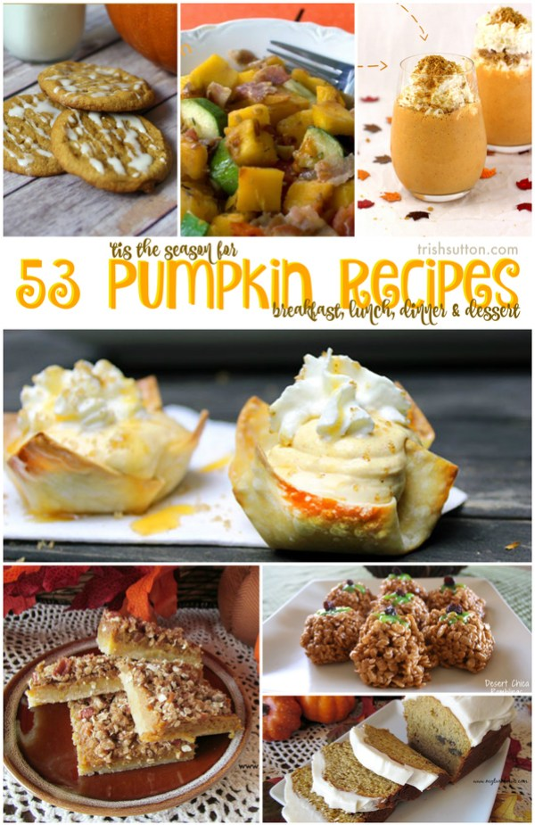 'Tis the Season for Pumpkin; Breakfast, Lunch, Dinner & Dessert Recipe Round-up by TrishSutton.com