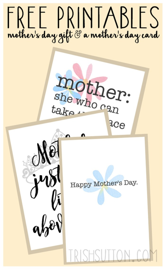 Twice the love!! Two Free Printables: Gift And Card For Mother's Day.