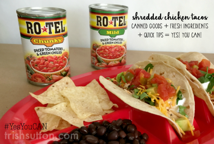 Shredded Chicken Tacos: A recipe, a kitchen tip and a cooking hack. Dinner made easy with RO*TEL and fresh Avocado perfect for practice nights.