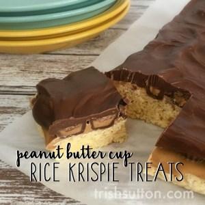 No Bake Peanut Butter Cup Rice Krispies Treats Recipe
