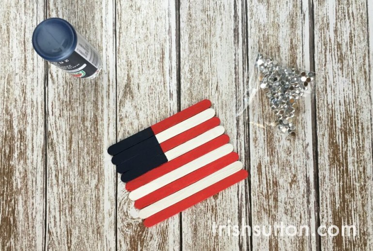 Patriotic Popsicle Stick American Flag; A kids craft by Trish Sutton.