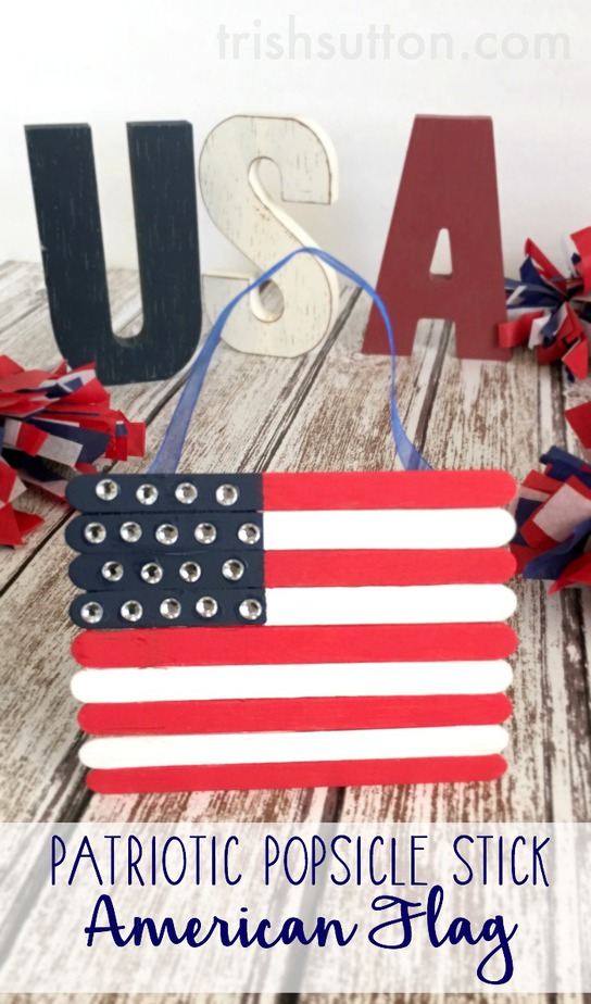 A Patriotic Popsicle Stick American Flag is a kids craft to show patriotism on Memorial Day, Flag Day, Independence Day and all summer long! TrishSutton.com