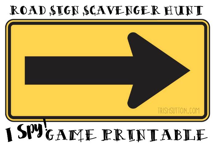Road Sign Scavenger Hunt; Free Printable for Kids on Road Trips. TrishSutton.com