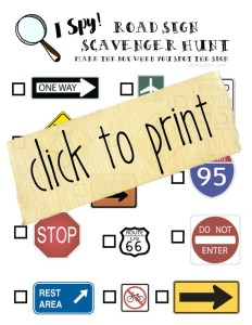 Road Sign Scavenger Hunt; Free Printable for Kids and Road Trips. TrishSutton.com