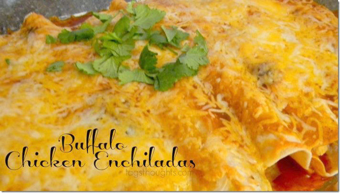 Chicken Enchiladas made with Buffalo Wing Sauce and flour tortillas instead of corn tortillas.