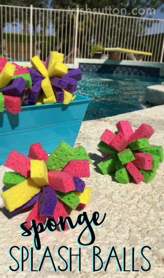 Summertime Fun: Sponge Splash Balls. Perfect for water fights, pool games and a fun way to cool off! TrishSutton.com