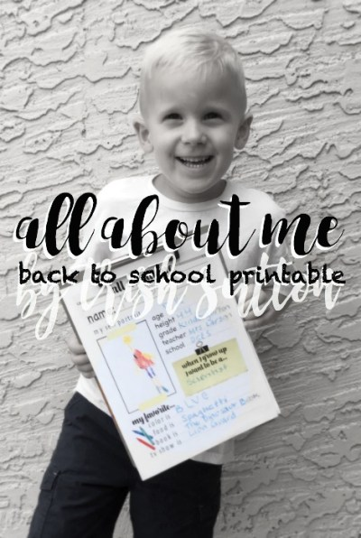 Back To School Printable; All About Me (And Back To School Linky Party)