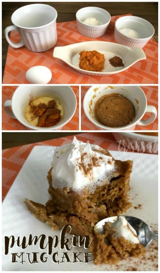 Simple Two Minute Pumpkin Mug Cake; Fall Blog Hop - TrishSutton.com