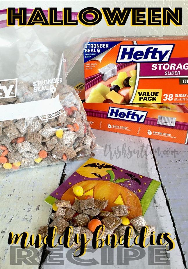 Halloween Monster Munch Muddy Buddy Recipe; Hefty Storage Slider Bags, TrishSutton.com