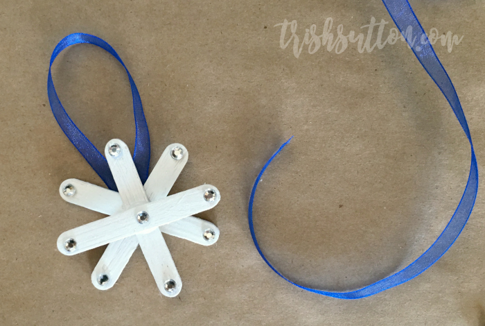 Craft Stick Snowflake Christmas Tree Ornament; TrishSutton.com