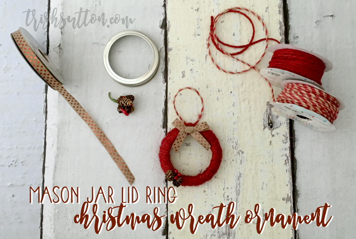 Mason Jar Lid Ring Christmas Wreath Ornament, TrishSutton.com {Blog Hop}