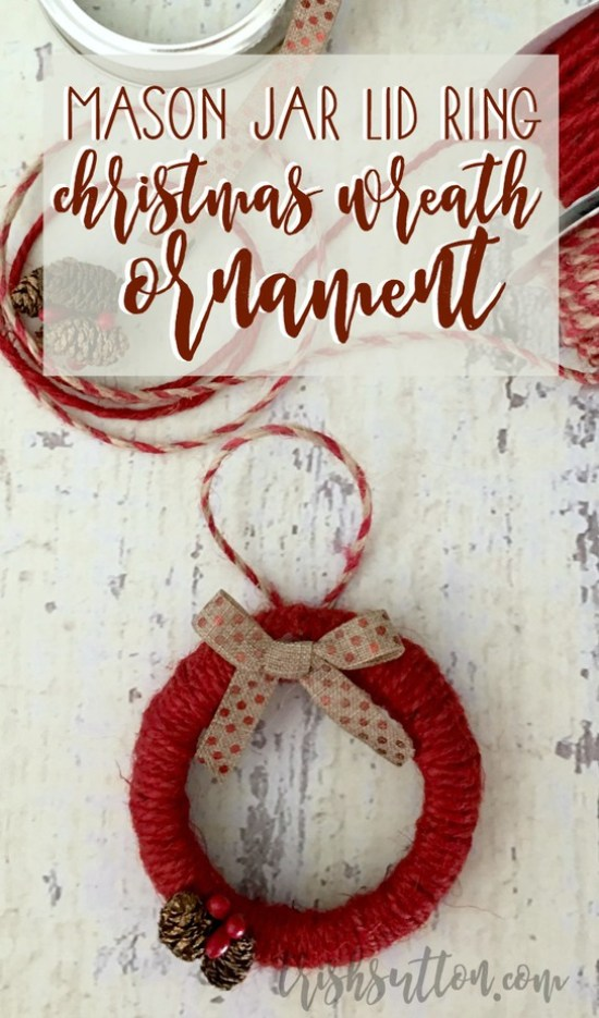 Mason Jar Lid Ring Christmas Wreath Ornament, TrishSutton.com {Blog Hop}