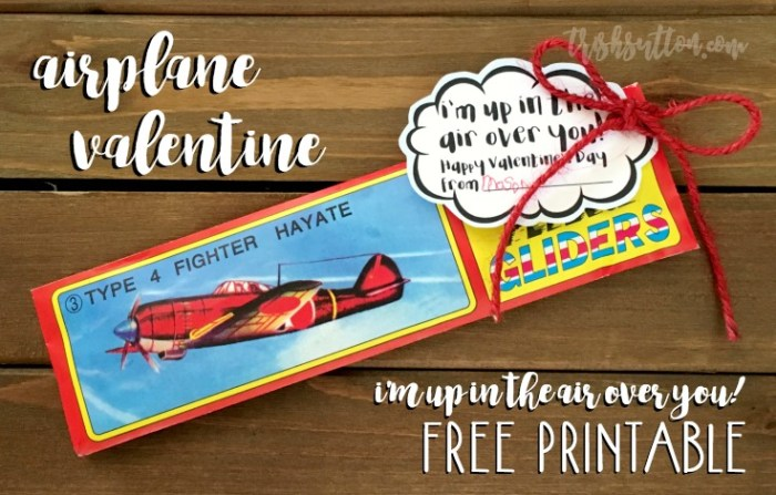 Airplane Valentine With Free Printable; Non Candy Kids Valentine by TrishSutton.com