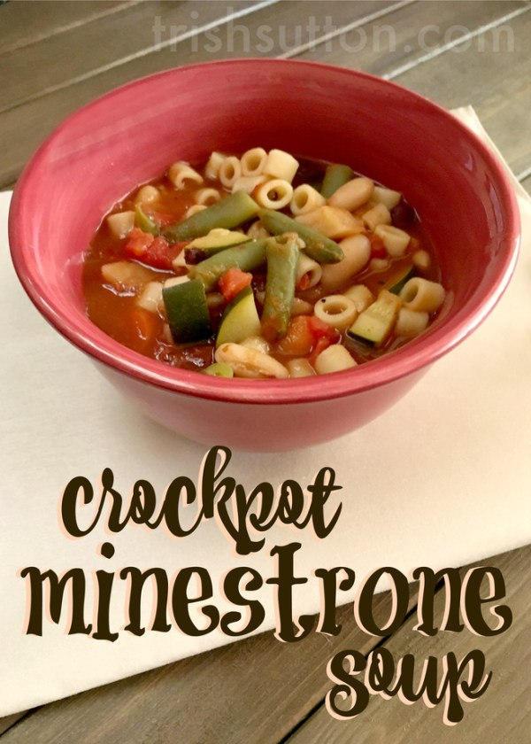 Crockpot Minestrone Soup; This recipe takes about 10-15 minutes prep and about seven hours in the crockpot. TrishSutton.com