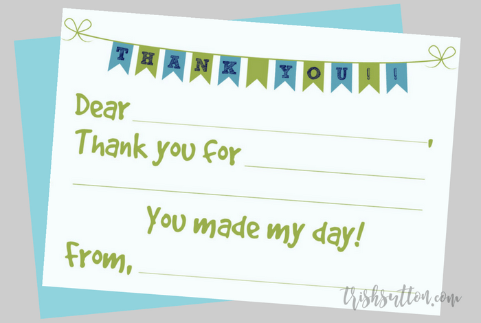 fill in the blank printable kids thank you notes 2 color options