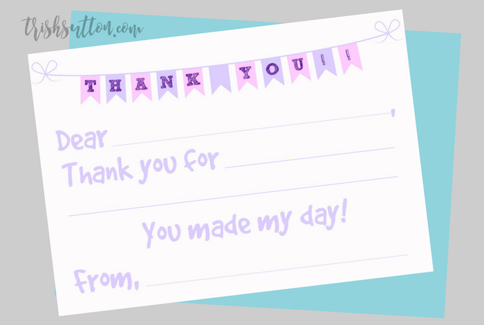 fill in the blank printable kids thank you notes  2 color