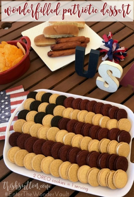 A simple patriotic dessert. Wonderfilled OREO Patriotic Dessert; Red Velvet, Cinnamon Bun, Birthday Cake & Salted Caramel cookies. #EnterTheWonderVault [AD]