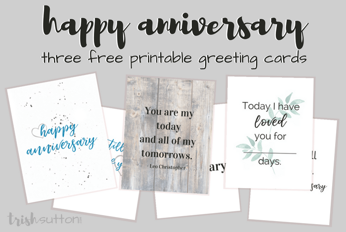 graphic relating to Anniversary Printable Cards identified as Delighted Anniversary 3 Printable Greeting Playing cards