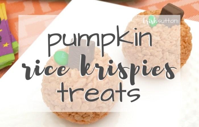 Pumpkin Rice Krispies Treats; Kid's Halloween Party Idea, TrishSutton.com