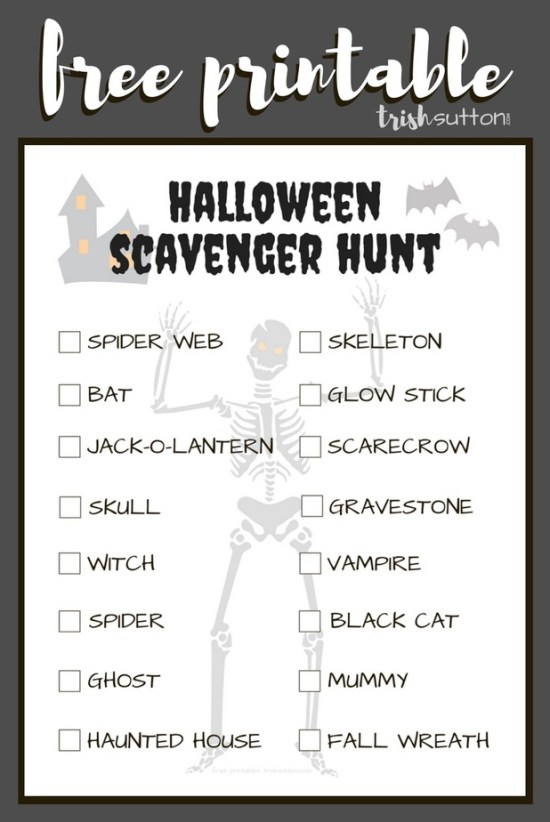 Free printable Halloween Scavenger Hunt to be used for a team game or individual game; kids of all ages will enjoy seeking the 16 items on this list.