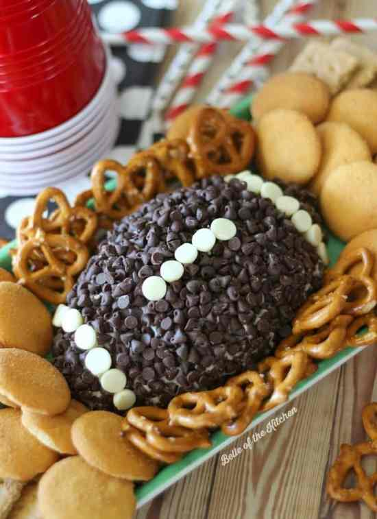 Gameday Football Shaped Foods | Big Game Party Ideas; this list of ideas for game day parties includes twelve ideas from chocolate treats to bean dip & meatloaf. TrishSutton.com