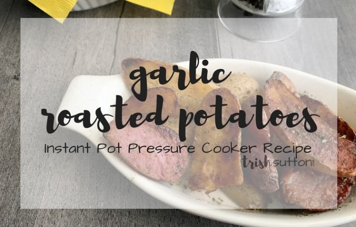Garlic Roasted Potatoes Instant Pot Pressure Cooker Recipe; TrishSutton.com #ElevateYourPlate #ad