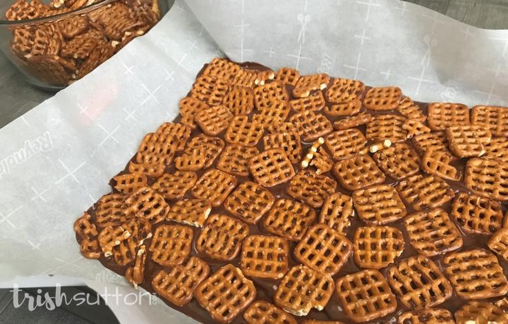 Chocolate Caramel Pretzel Bark Recipe; TrishSutton.com