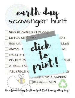 Earth Day Scavenger Hunt Printable; TrishSutton.com